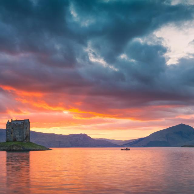 """Castle Stalker Fiery Sunset Pano"" stock image"