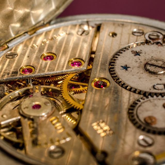 """""""Interior of an old pocket watch."""" stock image"""