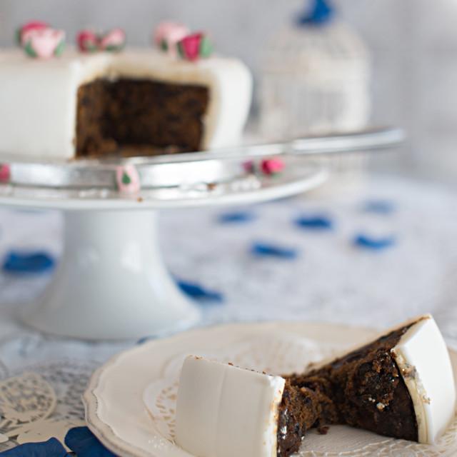 """""""Rich fruit celebration cake"""" stock image"""