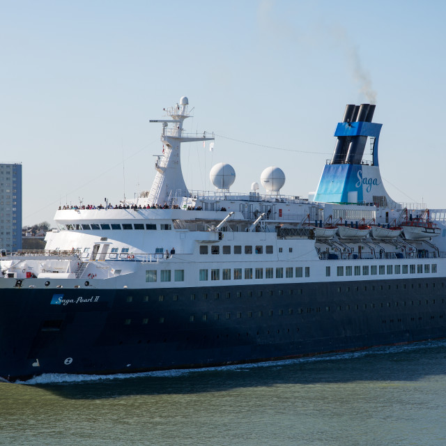 """""""Saga Pearl II departing Portsmouth on the 18th April 2015."""" stock image"""