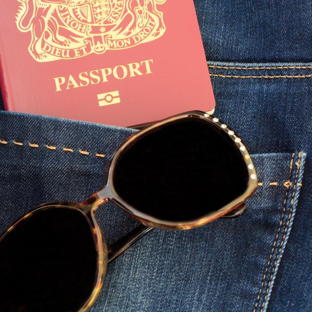 """Passport and Sunglasses"" stock image"