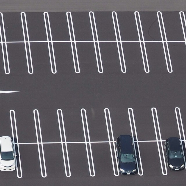 """Top view photo of parking lot"" stock image"