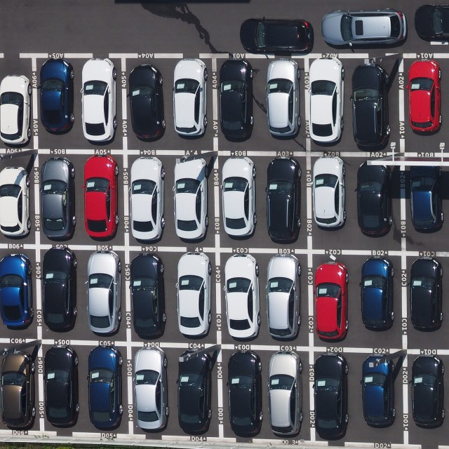 """Top view of parking lot in osaka"" stock image"