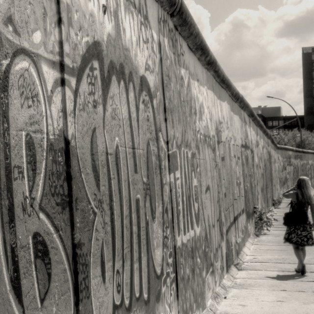 """Walking along the Wall"" stock image"