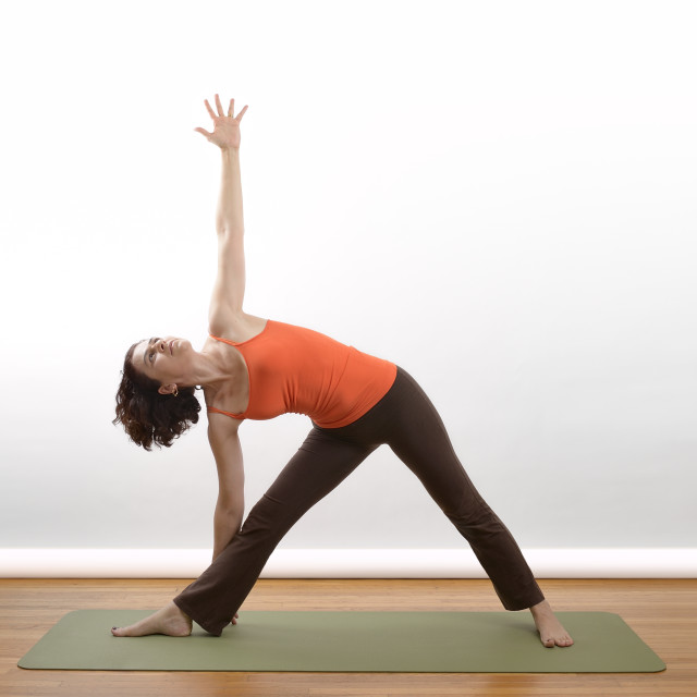 """""""Woman doing her yoga session"""" stock image"""