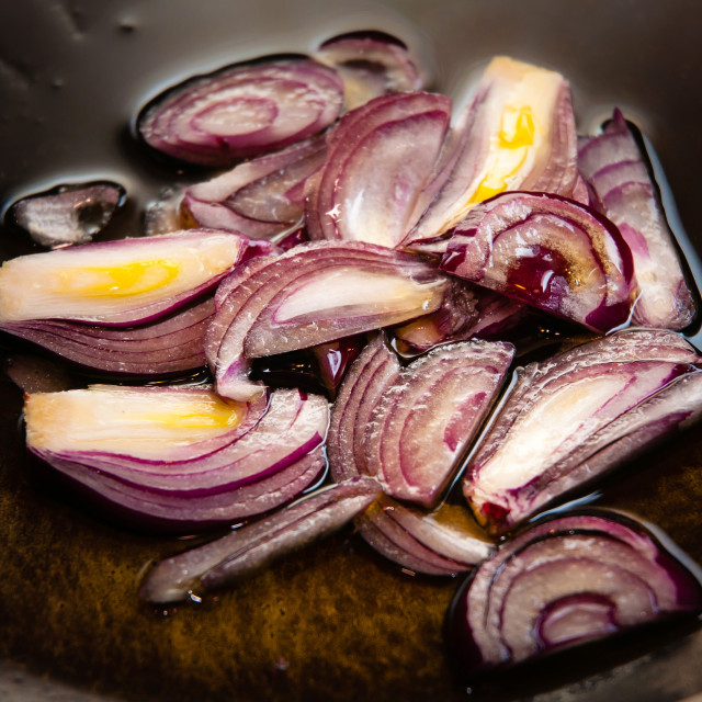 """Red Onions in Pan"" stock image"