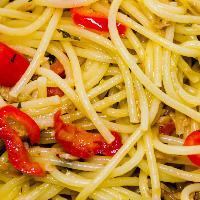 """Spaghetti with Pepper Sauce"" stock image"