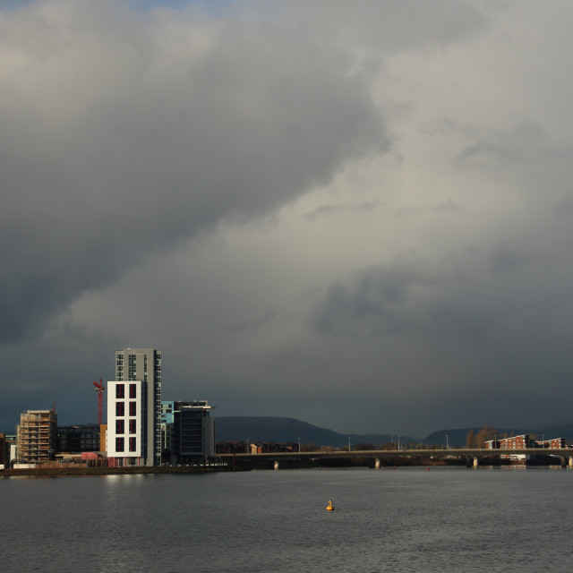 """Cardiff Bay with storm clouds gathering."" stock image"