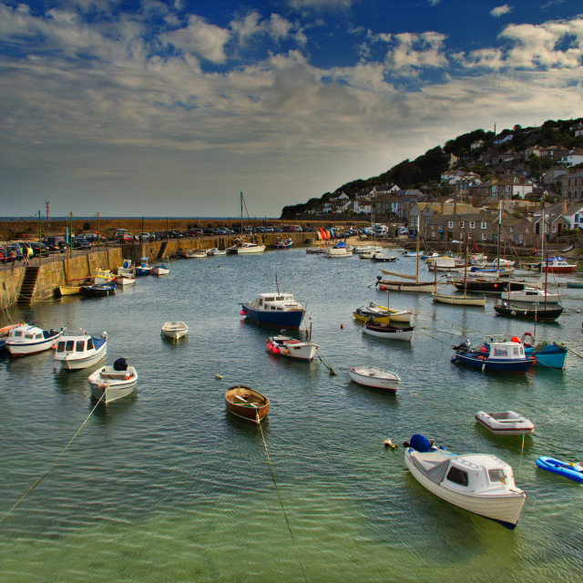 """Fishing Boats, Mousehole Harbour"" stock image"