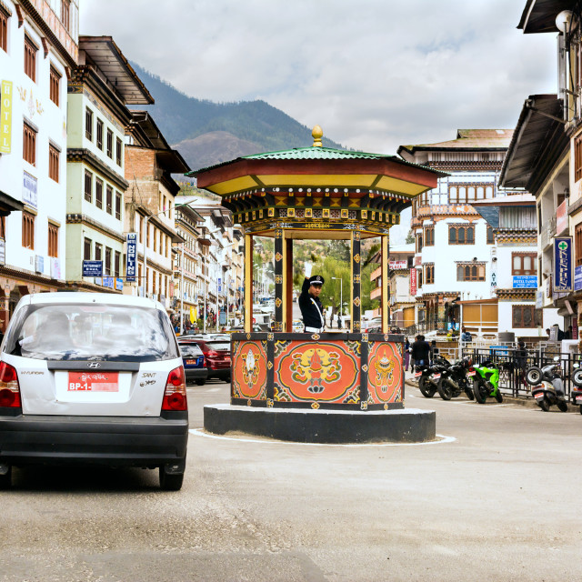 """Busiest traffic point in Bhutan"" stock image"
