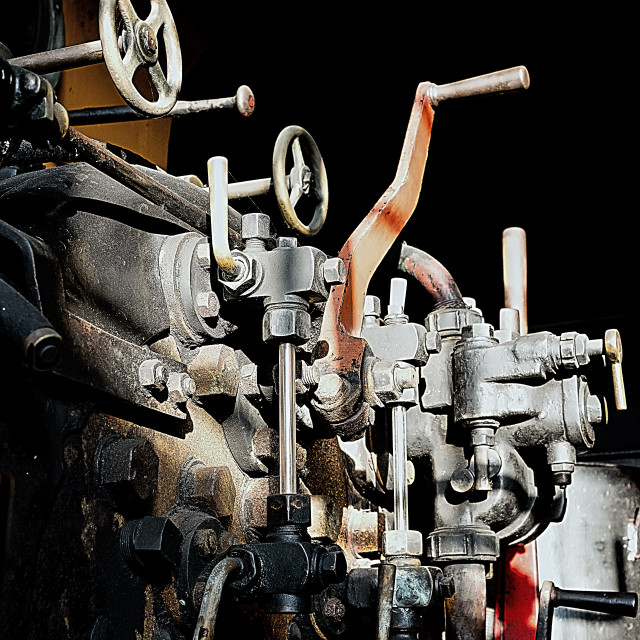 """""""Steam train plate and controls"""" stock image"""