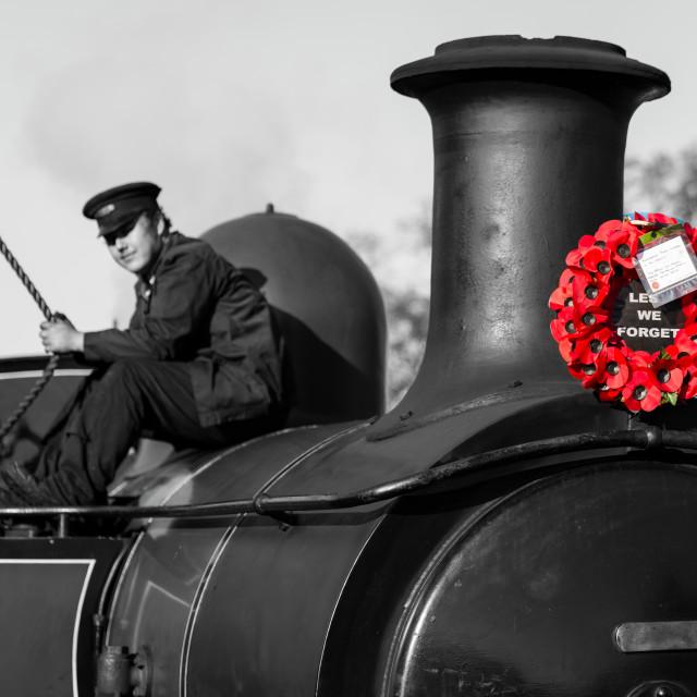 """""""Poppy wreath locomotive"""" stock image"""