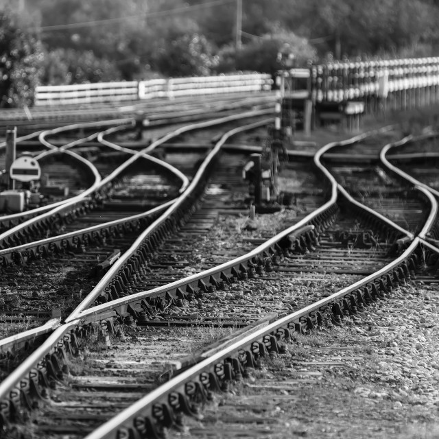 """Rails of a shunting yard"" stock image"