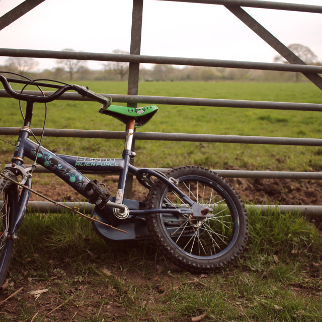 """Abandoned bike by farm gate"" stock image"
