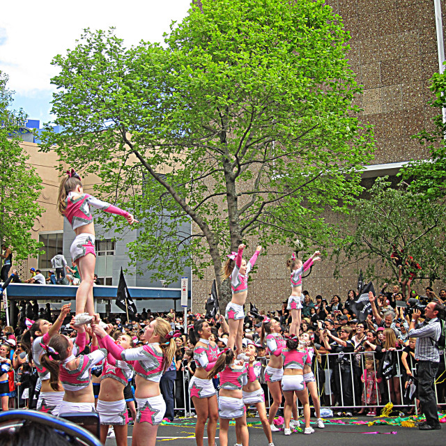 """Cheerleaders Performing Liberty Stunt"" stock image"