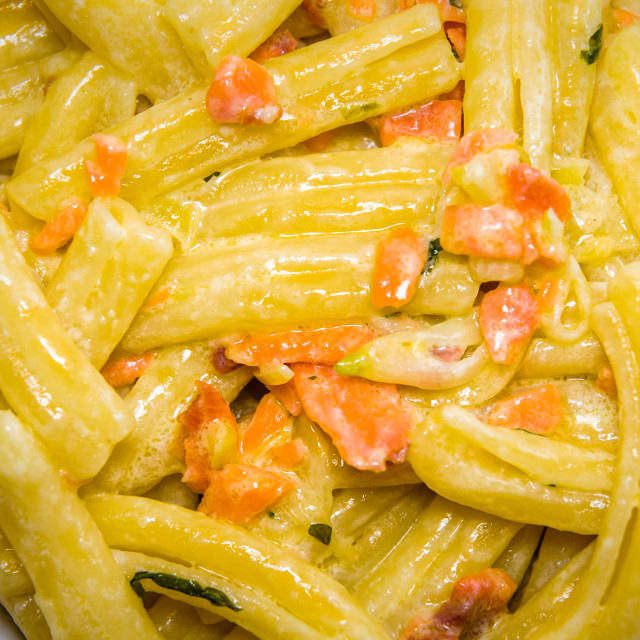 """Strozzapreti with Salmon Sauce"" stock image"