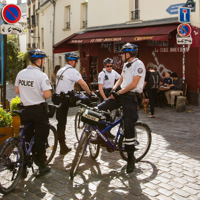 """French Police on bicycles"" stock image"