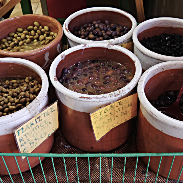 """Olive stall, Chania Market"" stock image"