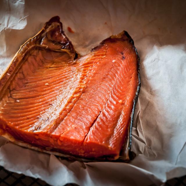"""""""Smoked Salmon from Kamchatka"""" stock image"""