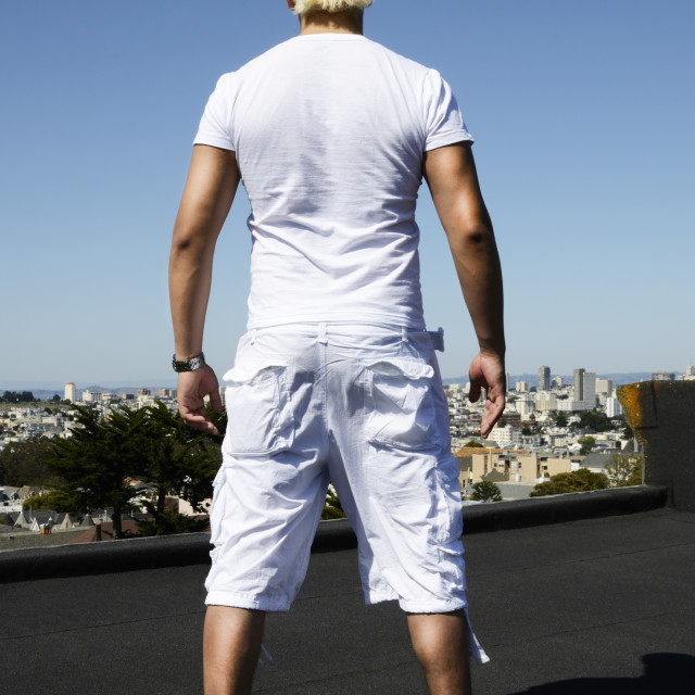 """Back view of a trendy man"" stock image"