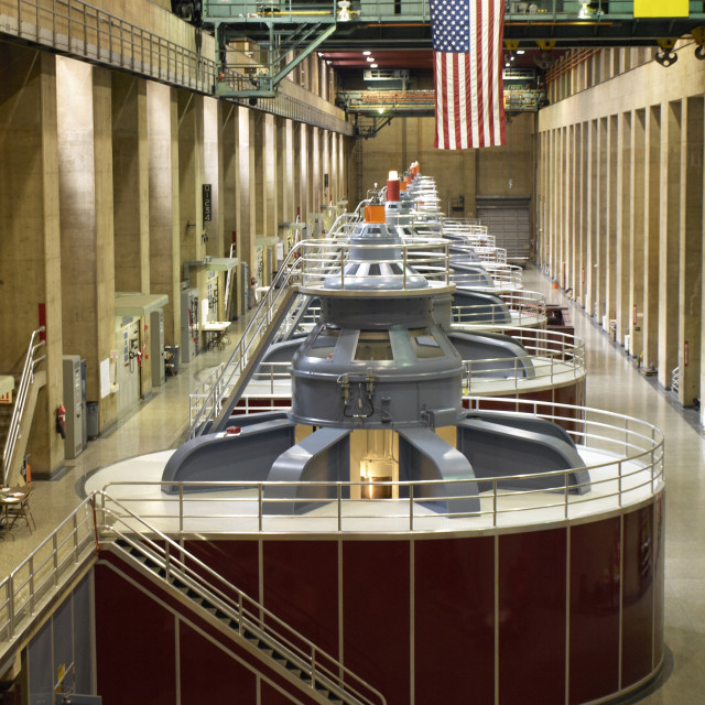 """Turbine generators at the Hoover Dam"" stock image"