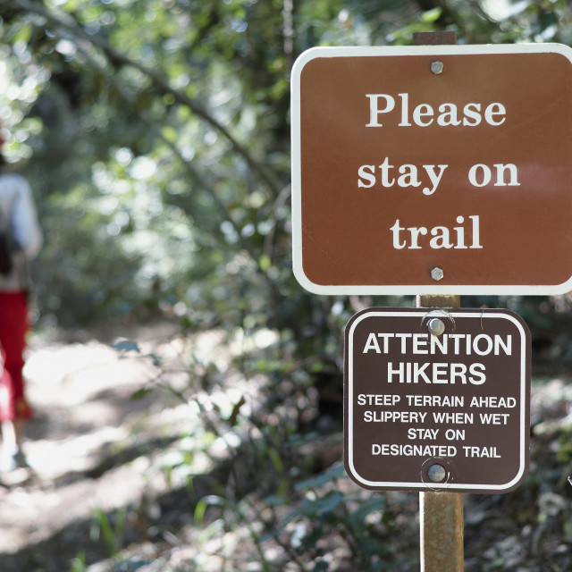 """Please stay on trail"" stock image"