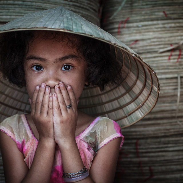 """conical hat little girl"" stock image"