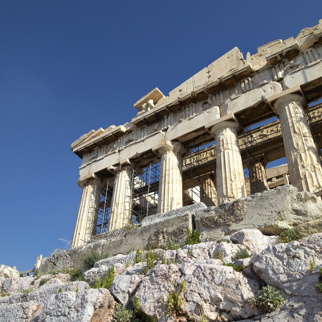 """""""unusual view of Parthenon ancient temple, Athens Greece"""" stock image"""