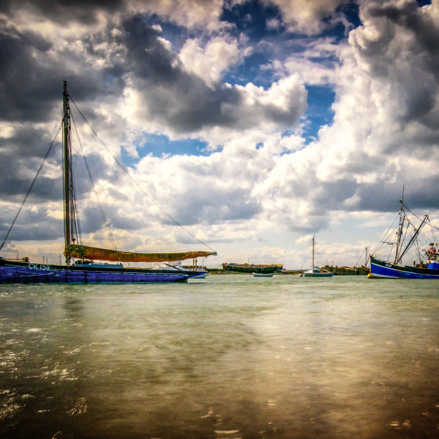 """""""Spring Shower Weather at West Mersea"""" stock image"""