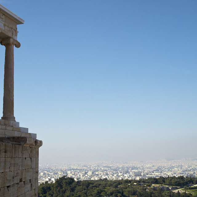 """Athena Nike temple on Acropolis, and Athens cityscape, Greece."" stock image"