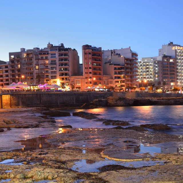 """Sliema Malta Sea Shore at Night"" stock image"