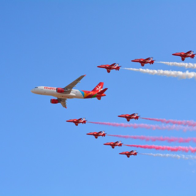 """Air Malta Formation Flypast with the Red Arrows"" stock image"