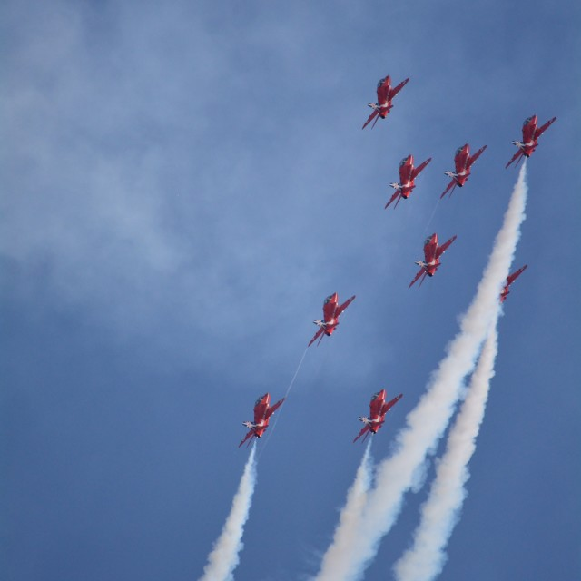 """Red Arrows Planes in Formation"" stock image"