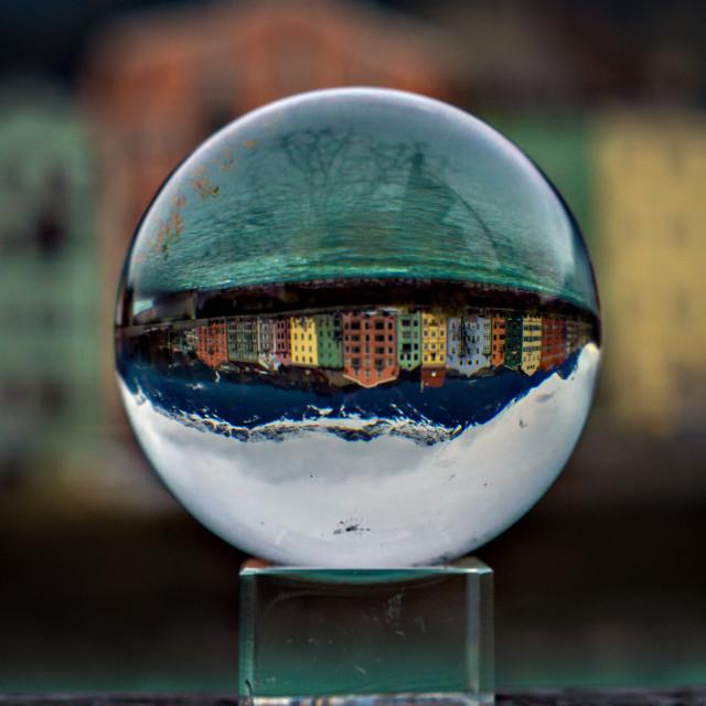 """""""Crystal Ball of Innsbruck River Houses"""" stock image"""