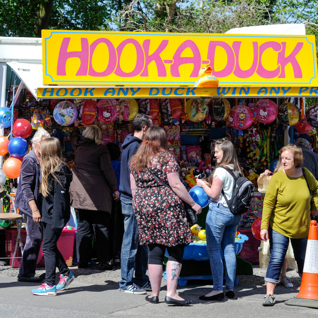 """Village Fete Hook-a-Duck Stall"" stock image"