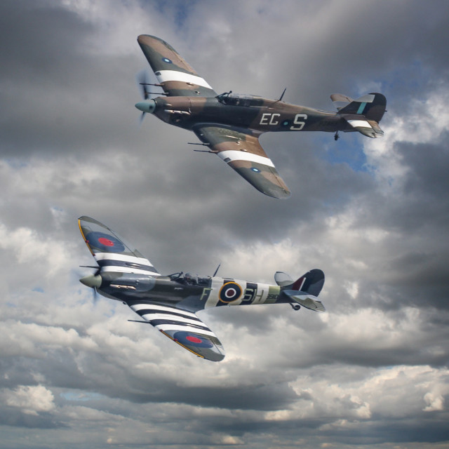"""BBMF Spitfire and Hurricane syncro"" stock image"