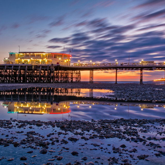 """Worthing pier at civil twilight facing West"" stock image"