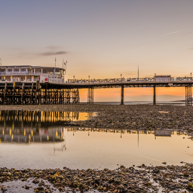 """Worthing Pier at sunset"" stock image"