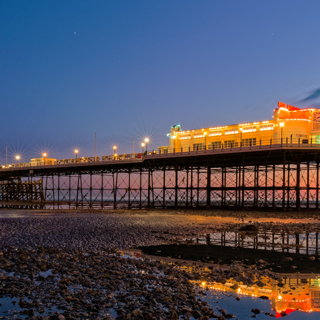 """Worthing pier at civil twilight facing South West."" stock image"