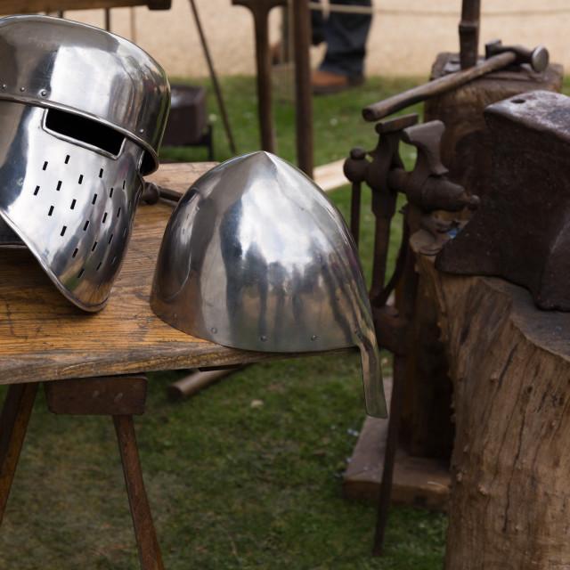 """Medieval helmets"" stock image"