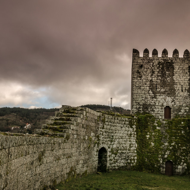 """Within the walls of Montalegre Castle."" stock image"