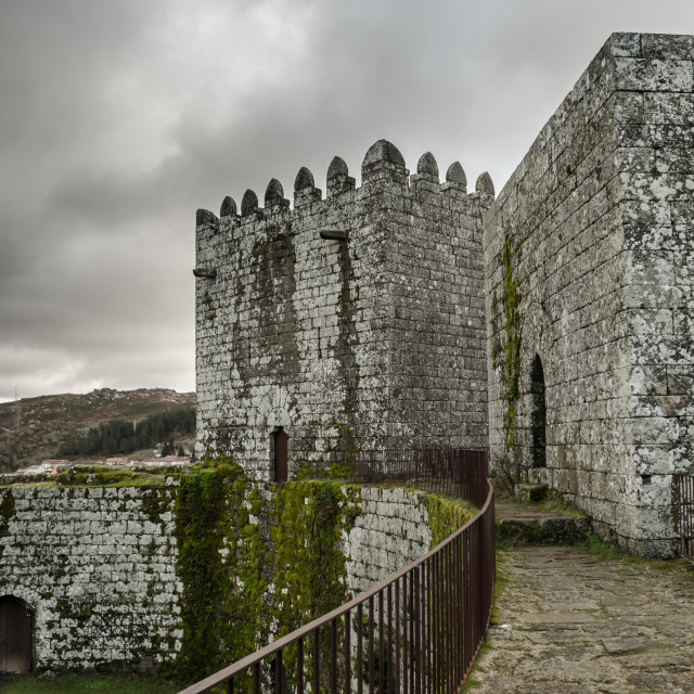"""""""On the walls of Montalegre Castle."""" stock image"""