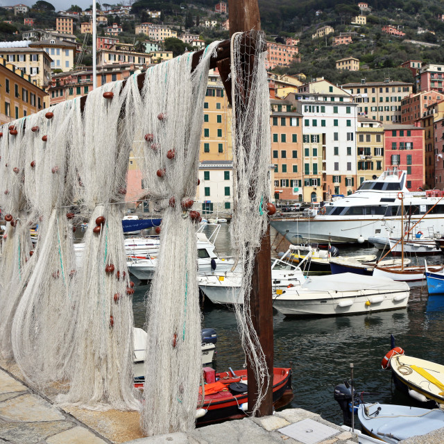 """Fishing nets in harbour"" stock image"
