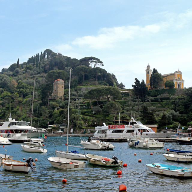 """Harbour in Portofino"" stock image"