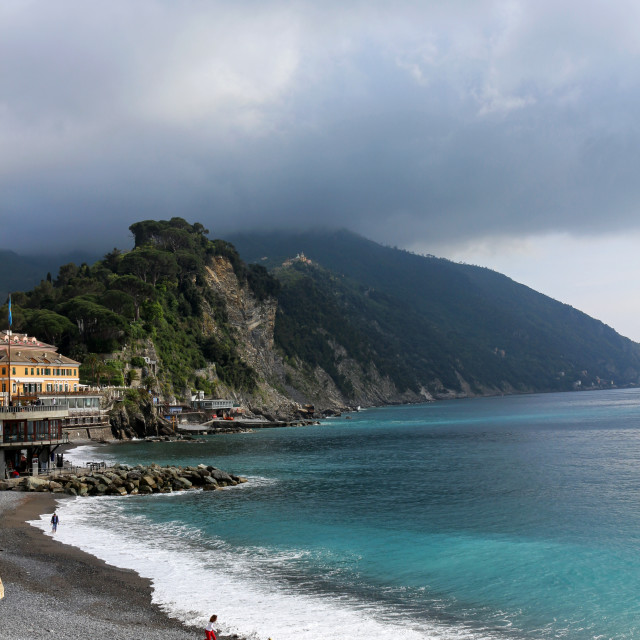 """Moody beach in Camogli"" stock image"