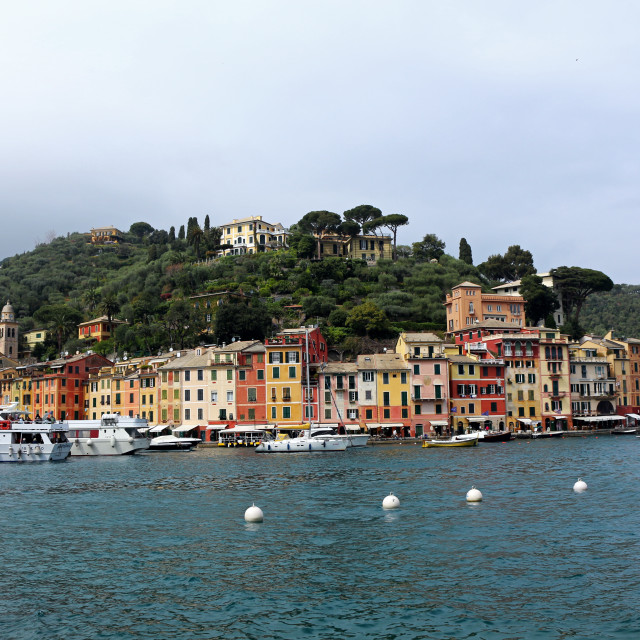 """Coastal buildings in Portofino"" stock image"