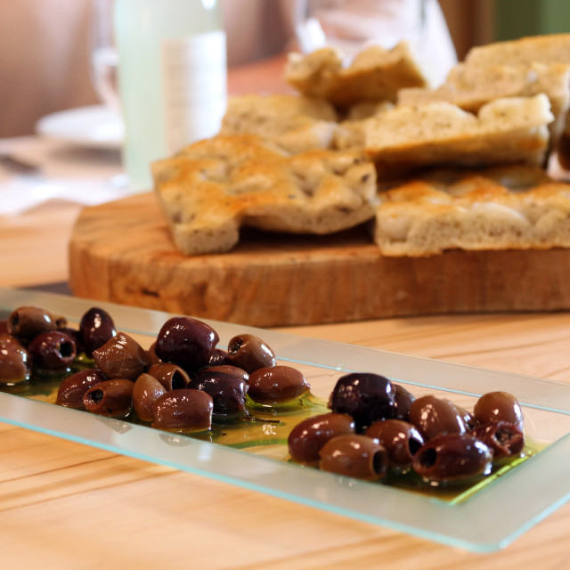 """Olives and focaccia"" stock image"