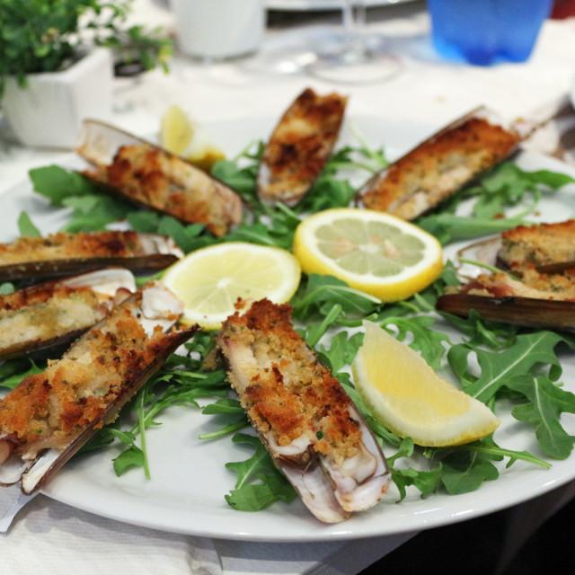"""Razor clam gratin"" stock image"