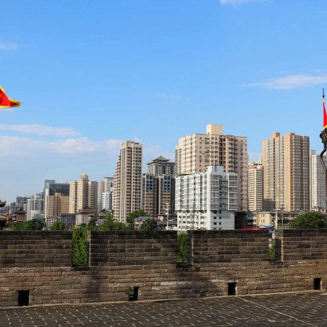 """City wall with high rises in Xian"" stock image"