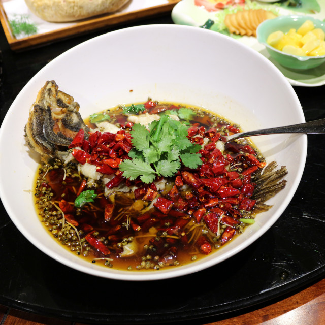 """Spicy Sichuan fish dish"" stock image"